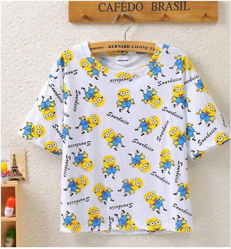 韩版神偷奶爸小黄人可爱卡通印花宽松短款短袖t恤