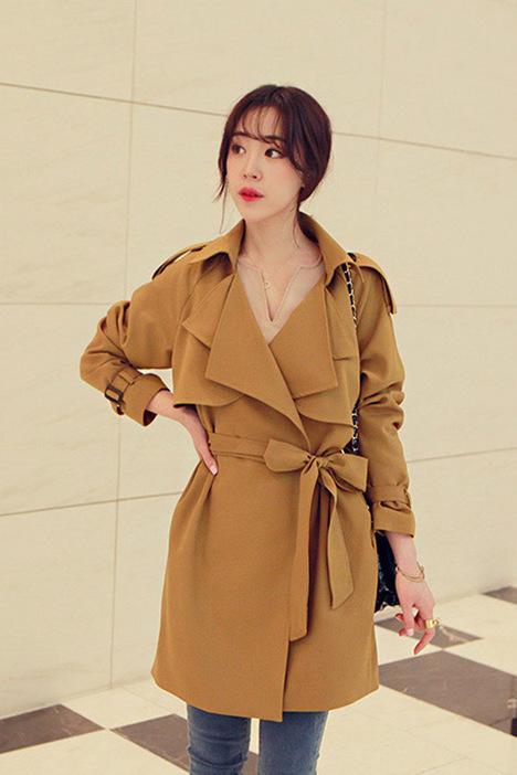 【韩版气质系带风衣】-风衣