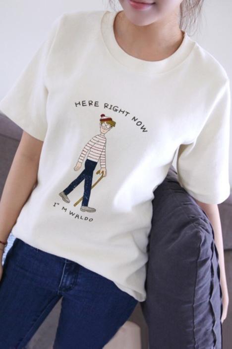 原宿风卡通小人物t恤