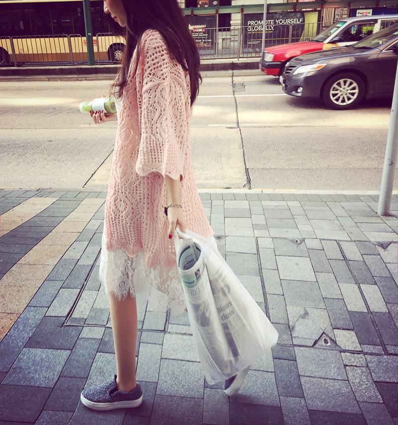 韩版镂空编织七分喇叭袖针织开衫