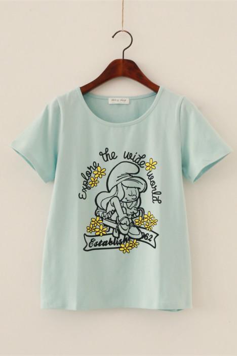 日系,甜美,可爱,学院风,小清新,休闲,纯棉,百搭,宽松,显瘦,短袖,t恤