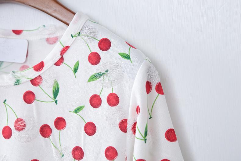 2015夏季新品樱桃印花短袖t恤
