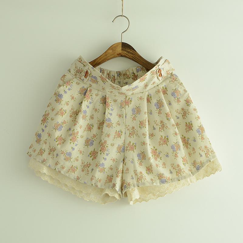 日系森女碎花镂空花边棉麻裙裤