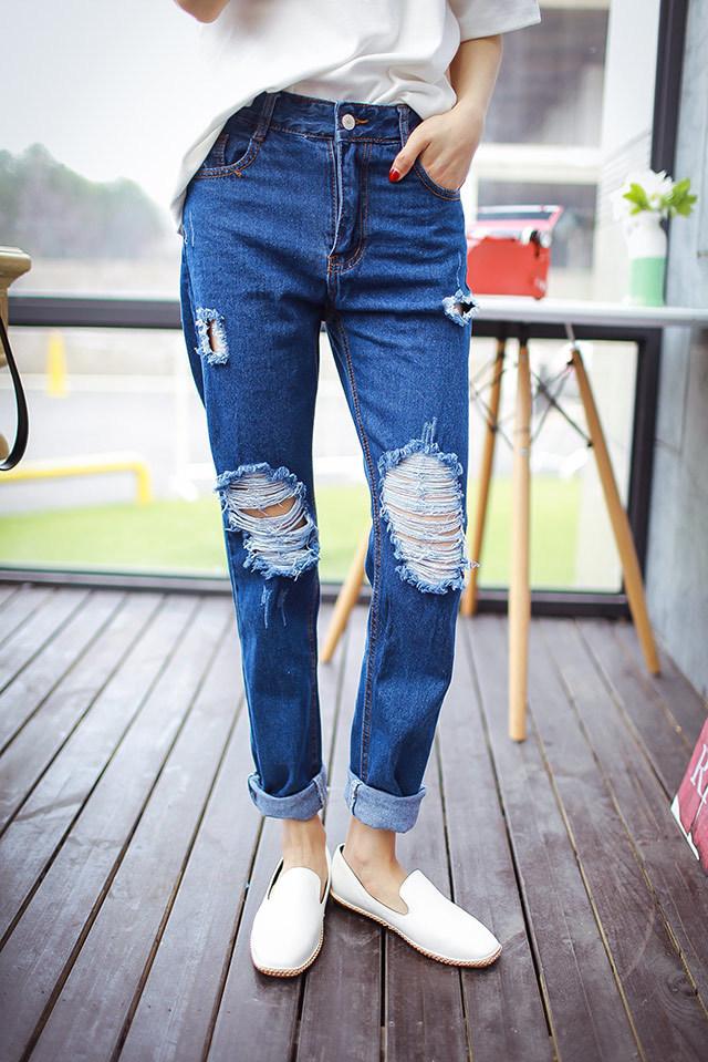 破洞牛仔裤-来自蘑菇街优店