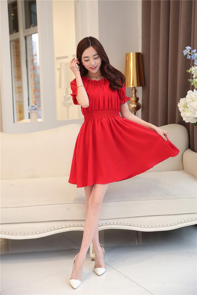 【西瓜家】红色露肩收腰连衣裙