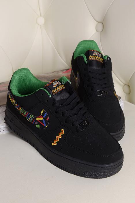 新款空军一号黑绿运动板鞋