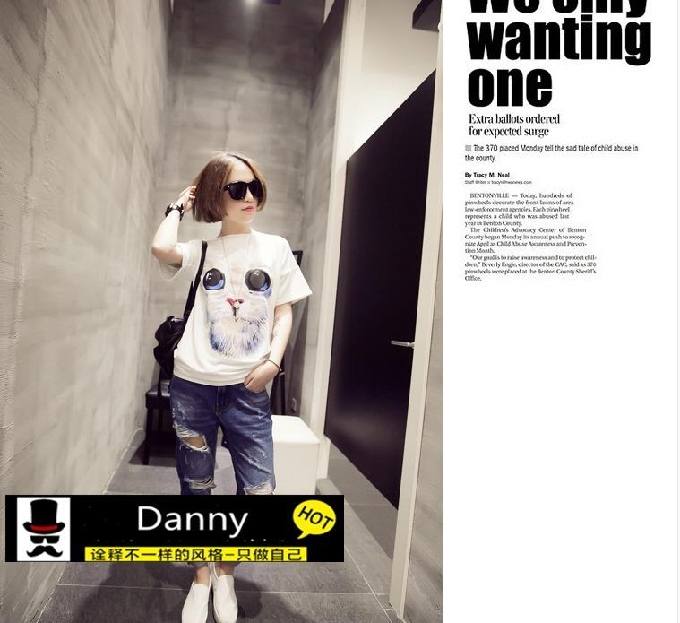 韩国3d可爱猫头宽松短袖t恤
