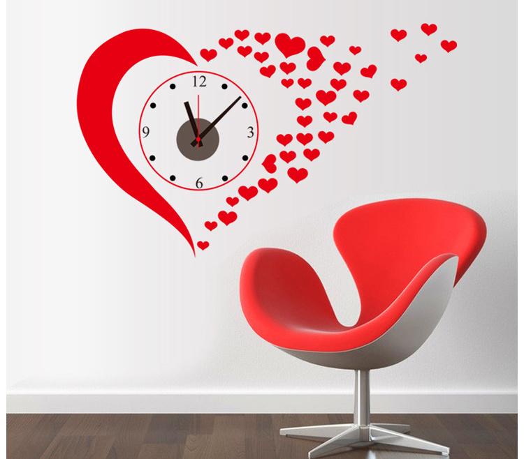 红色爱心时钟墙贴-来自蘑菇街优店