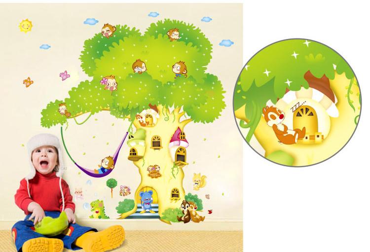 儿童卡通树墙贴