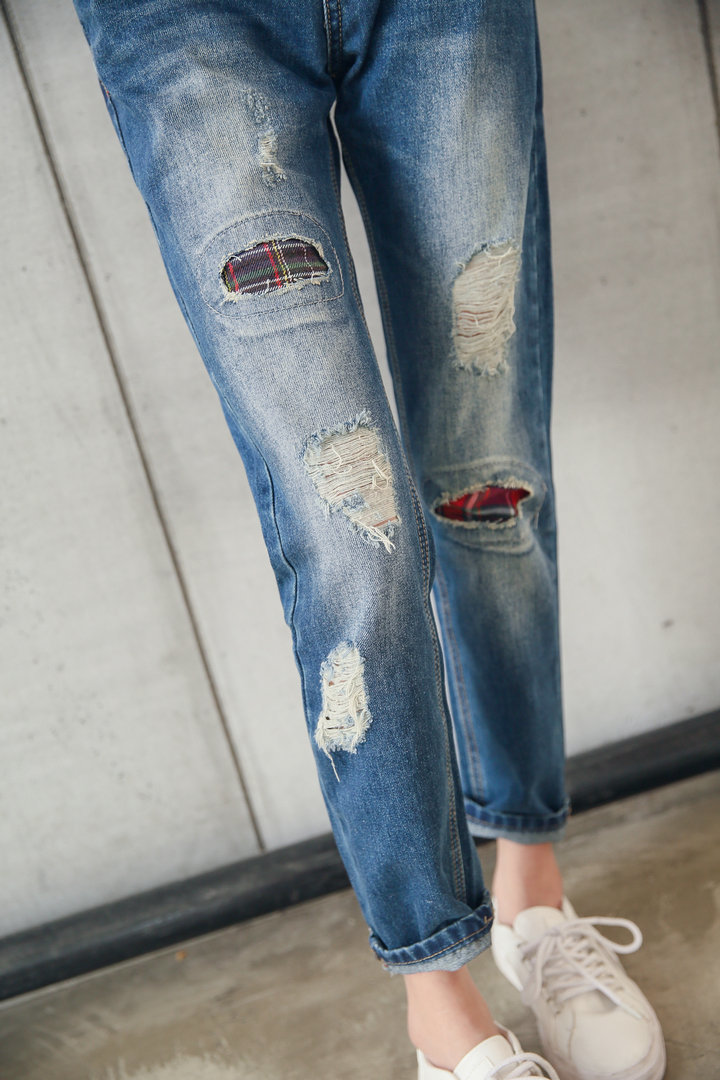 时尚补丁破洞牛仔裤