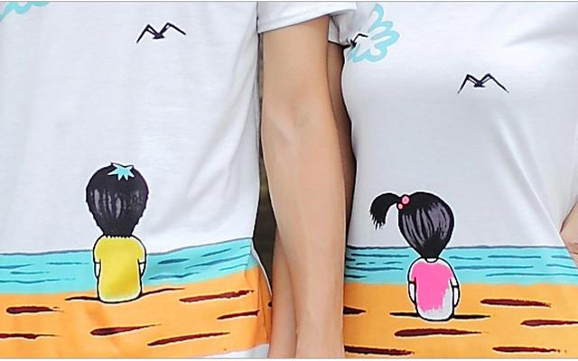 印花海边图案短袖+短裤情侣装