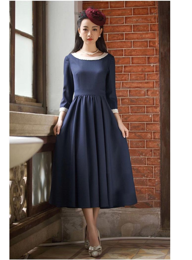 2015夏装新款复古七分袖连衣裙