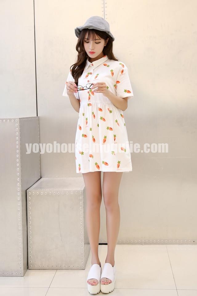 卡通可爱胡萝卜番茄短袖棉连衣裙