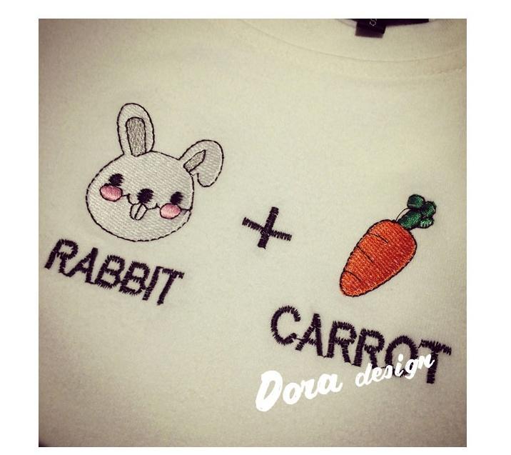 刺绣兔子+胡萝卜磨毛短袖t恤