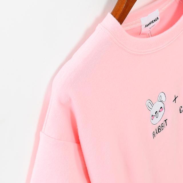 韩版刺绣兔子胡萝卜短袖t恤