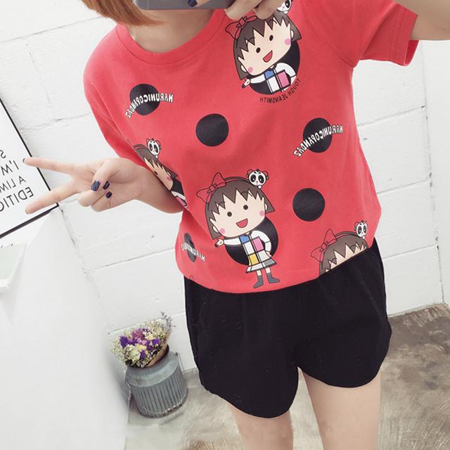 韩版卡通甜美小丸子图案t恤