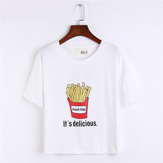 拉布拉咔 薯条短款短袖t恤
