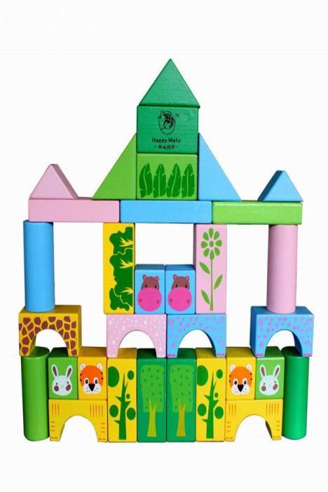 森林动物儿童益智拼搭玩具积木