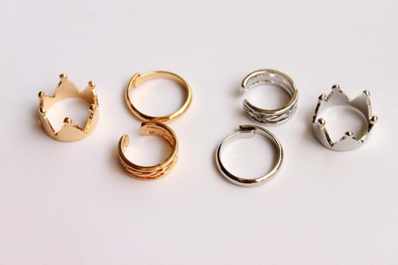 可爱皇冠戒指三件套
