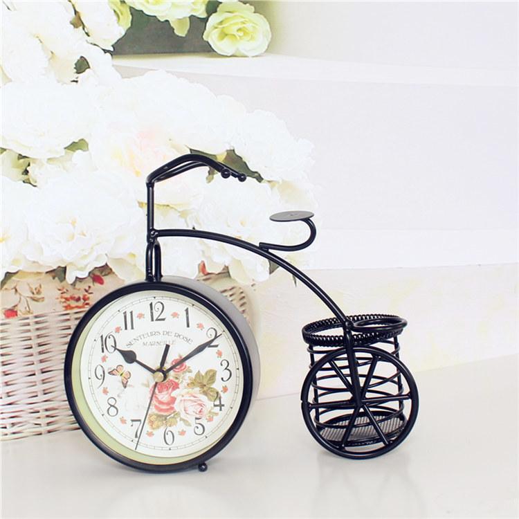 欧式铁艺摆件自行车笔筒钟
