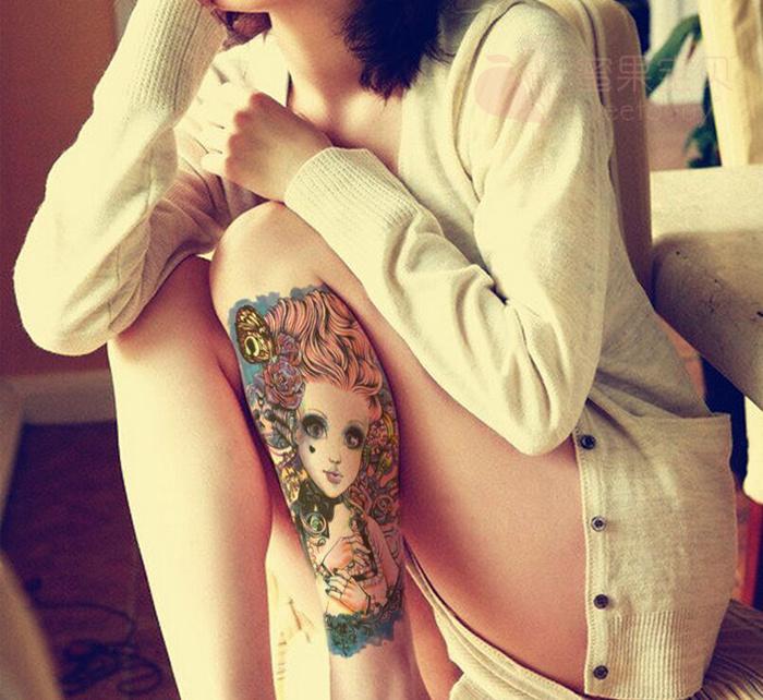 (ab款)大眼娃娃美女花臂纹身贴