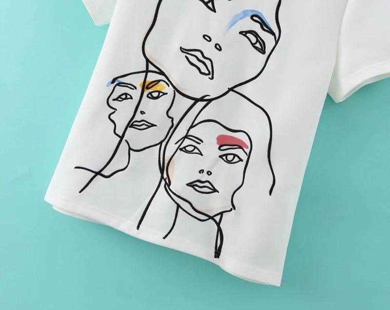 欧美风涂鸦人物头像设计感t恤