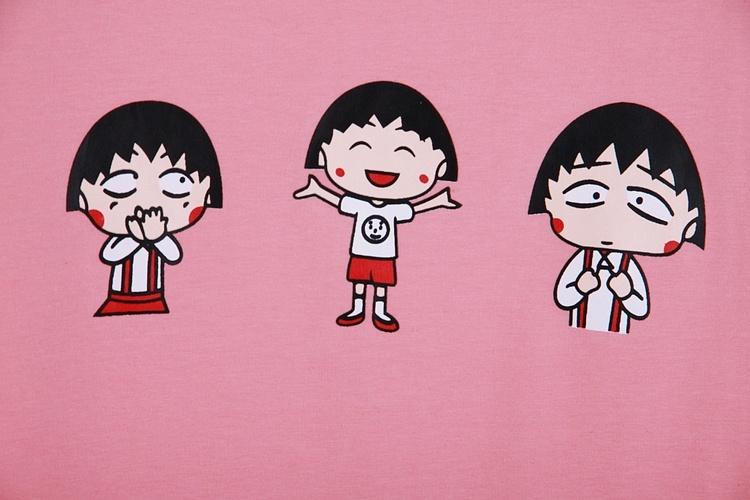 可爱卡通小丸子印花宽松短袖t恤