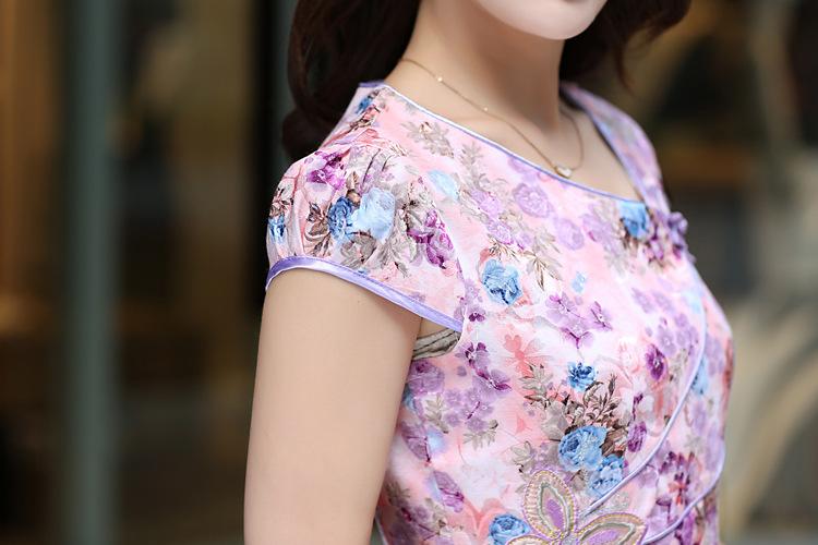 2015夏季新款连衣旗袍裙时尚绣花礼服复古无领短袖民族服女装