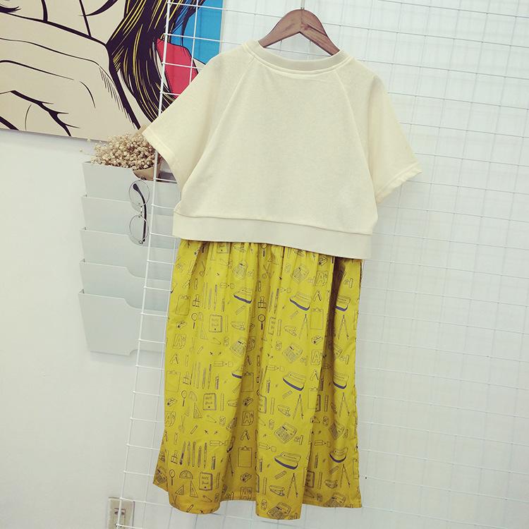 文具系带黄色手绘连衣裙