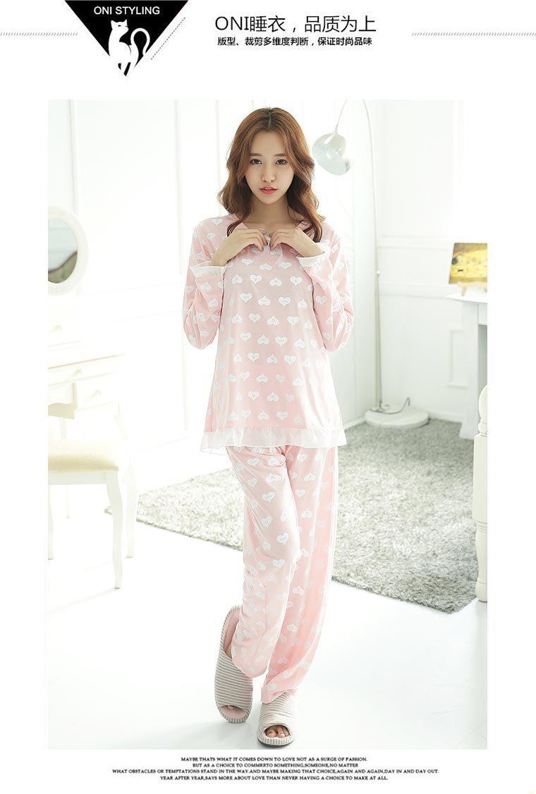 韩国初秋可爱甜美花边睡衣套装
