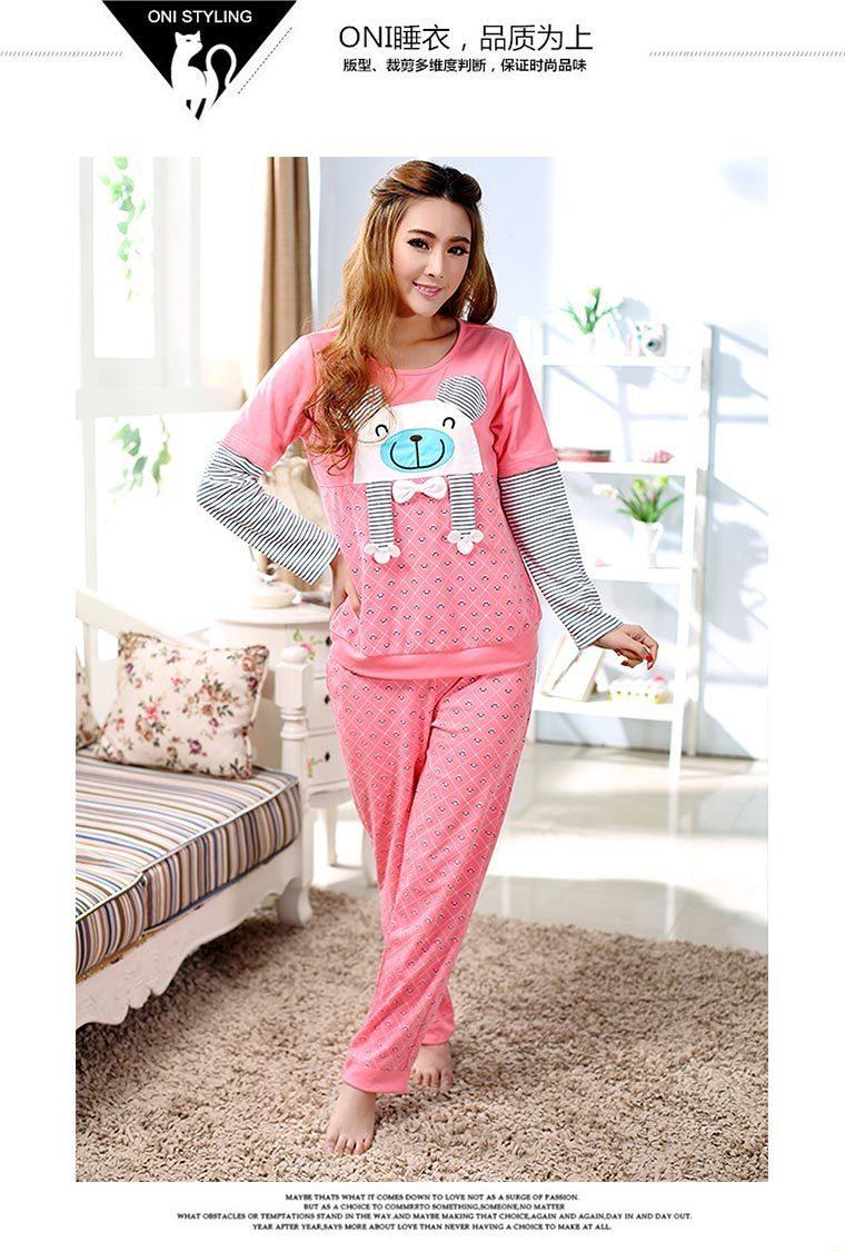 韩国初秋可爱熊猫睡衣