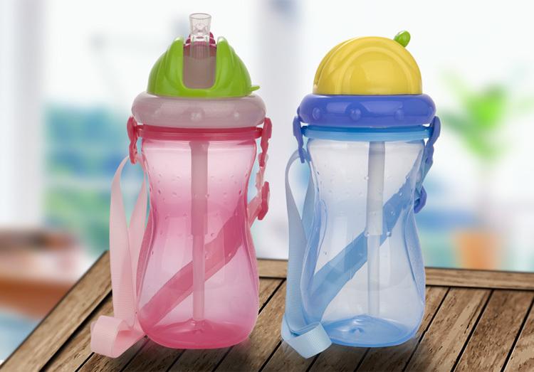 优恩儿童夏季便携防漏吸管塑料水杯学生水杯(包邮)350ml