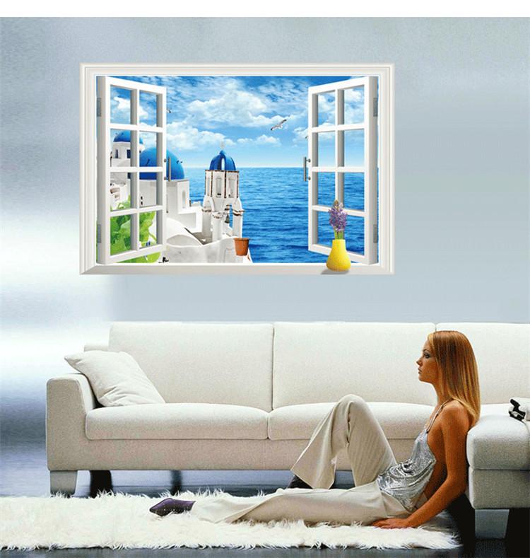 海景假窗墙贴纸 创意客厅电视沙发背景墙地中海贴画海洋世界贴画