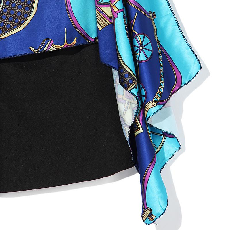欧美性感时尚v领无袖撞色马车印花披风衣摆包臀连衣裙