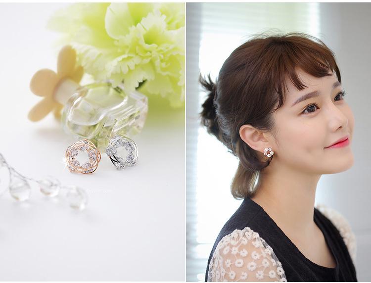 韩版新款甜美花环镶钻锆石耳钉女时尚镀白金气质水晶镂空耳环耳夹
