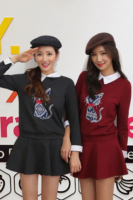 韩版,新款,秋冬,两件套,显瘦,套头,休闲,刺绣,猫咪,闺蜜装,衣裙套装