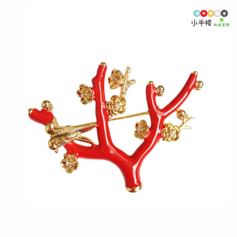 在梅边 中式红色喜鹊梅花胸针 喜上眉梢【小半楼私房首饰】