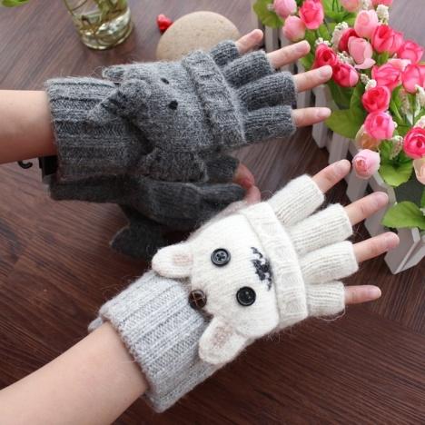 【冬季新品外贸可爱卡通手套翻盖半指手套】-女士