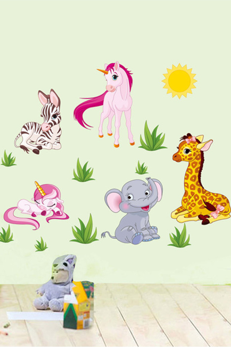 【简一】卡通小马动物儿童房墙贴画