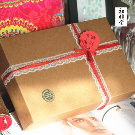 初晴堂复古文艺长礼品盒新年装牛皮纸天地盖包装盒送礼礼物盒