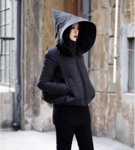 欧美风秋冬女巫帽保暖黑色棉衣外套