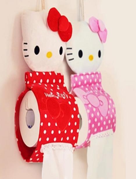 可爱毛绒纸巾挂 创意卡通kt猫布艺纸巾套 纸巾筒抽盒