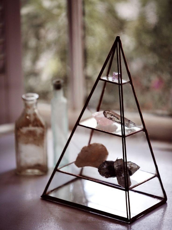 【三层首饰盒金字塔玻璃展示架透明展示盒三角几何