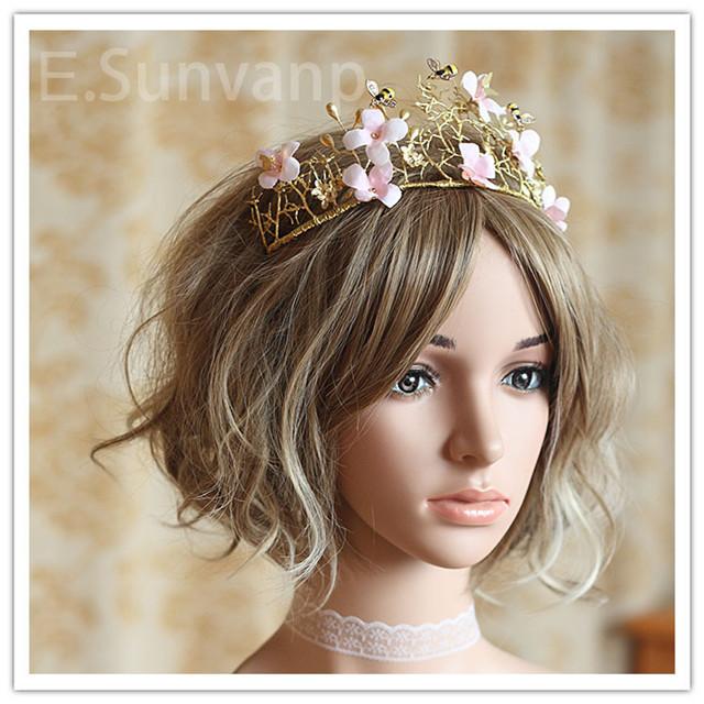 全新手工立体欧式巴洛克金色复古大皇冠 花仙子森系新娘王冠头饰