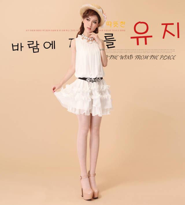 【夏季雪纺公主裙甜美学生日系韩版显瘦可爱少女】