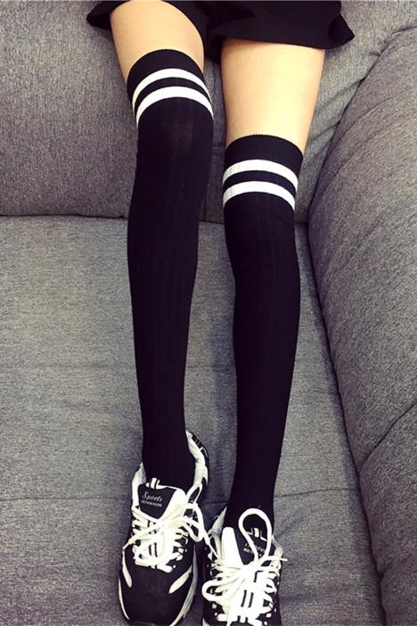 【春季】日系二杠条纹过膝长筒袜