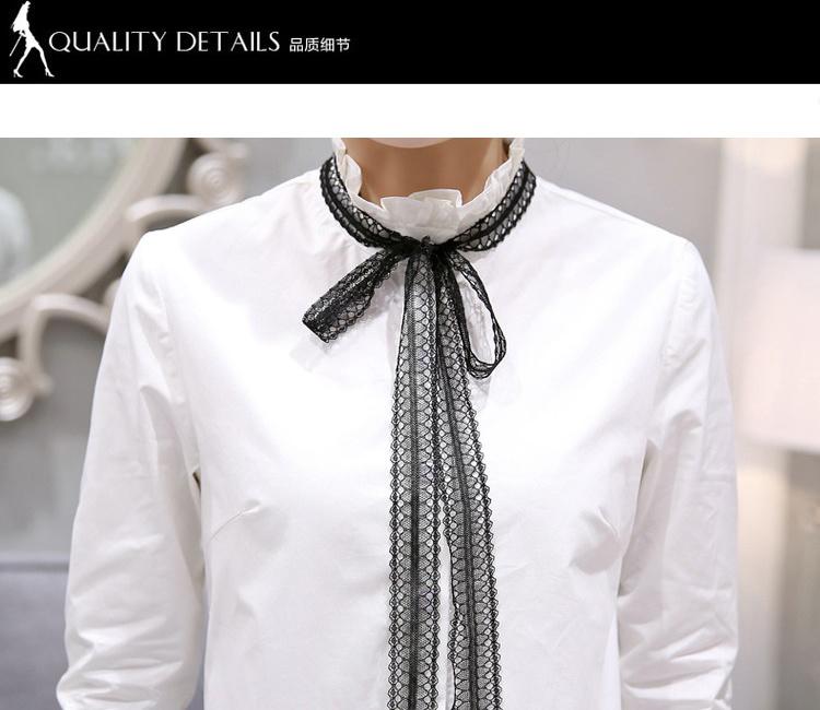 【韩版花边领系带白色女衬衫棉衬衣】-衣服-衬衫