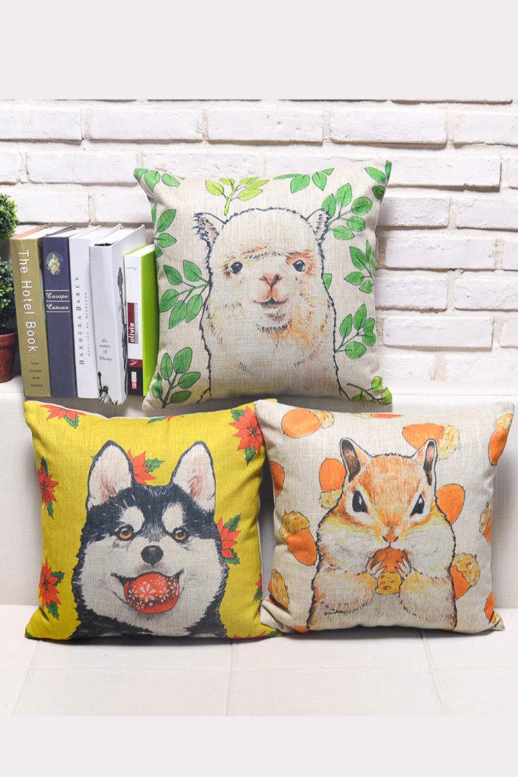 卡通田园风 手绘动物棉麻抱枕套 沙发靠垫 办公室靠背 床头枕