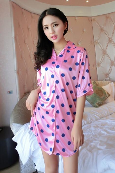 【(2色)性感小可爱衬衫冰丝睡裙】-内衣-女士内衣/服