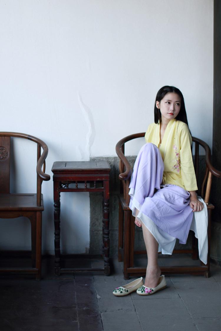 【中国风森系清新复古文艺古风手工绣花鞋】-衣服-_单